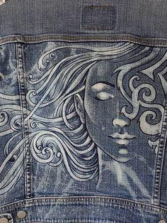 Hand painted, bleached vintage woman's Levis denim jacket