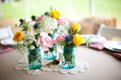 mason-jar-blue-vintage-wedding-centerpieces