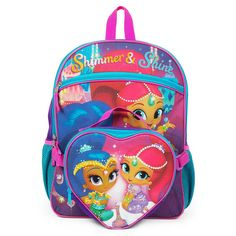 Nickelodeon Girls' Shimmer and Shine Backpack with Lunch Kit, Purple