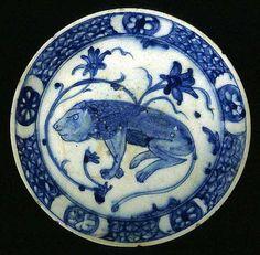 Bowl with lion  17th century  Iran  Fritware, painted underglaze decoration, transparent glaze