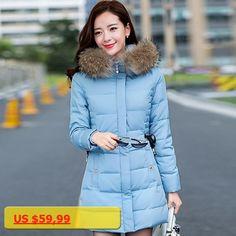 New Fashion Winter Jacket Women Warm Cold Women Outwear Parka slim waist Raccoon Fur Collar Hooded Female Winter Coat