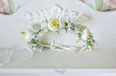 Bridal crown Pastel wedding  flower crown  Bridal floral halo Roses ranunkulyus  hair wreath