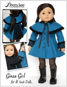 """Ginza Girl Coat and Capelet 18"""" Doll Clothes 