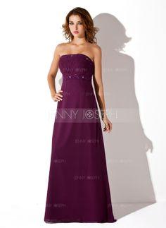 С завышенной талией Без лямок Длина до пола шифон Платье Подружки Невесты с Рябь Бисер (007001776)
