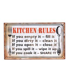 White 'Kitchen Rules' Wall Art