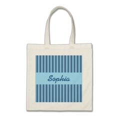 Wedding Favor Stripes Custom Name V22 BLUE Tote Bag   To see more customizable striped Jaclinart gift items:   http://www.zazzle.com/jaclinart+striped+gifts?st=date_created&ps=120  #stripes #striped #pattern #jaclinart #design #create