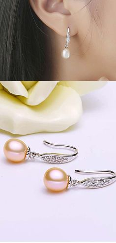 e258f0be4 Pearl earring,bridal jewelry wedding earring,genuine freshwater pearl  earings silver,crystal bridal