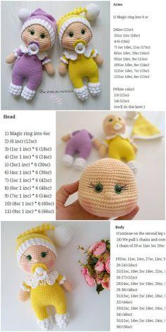 plus - Amigurumi Doll Pacifier Baby Free Crochet Pattern – Crochet.plus Amigurumi Doll Pacifier Baby Free Crochet Pattern – Crochet.plus Blog Crochet, Crochet Bear, Crochet Animals, Crochet Toys, Free Crochet, Crochet Gratis, Crochet Dolls Free Patterns, Crochet Doll Pattern, Amigurumi Patterns