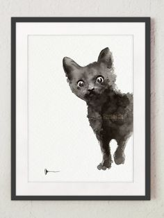 black cat art print watercolor kitten art by colorwatercolor
