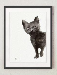 Black Cat Art Print Watercolor Kitten Art by ColorWatercolor