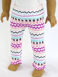 Pretty patterned leggings for 18 Inch dolls such as American Girl doll. Pink…