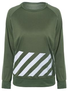 Crew Neck Stripe Print Sweatshirt in Army Green | Sammydress.com