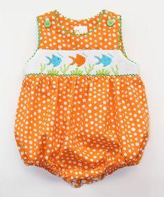 Look at this #zulilyfind! Orange Fish Smocked Bubble Bodysuit - Infant #zulilyfinds