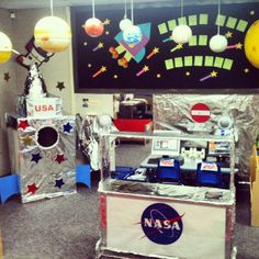 Space Center Dramatic Play - With multiple boxes and tin foil, a Space Station can be created! Students can practice their countdowns, giving instructions, and learn new space vocabulary. Dramatic Play Themes, Dramatic Play Area, Dramatic Play Centers, Space Classroom, Classroom Themes, Classroom Activities, Space Theme Preschool, Space Activities, Role Play Areas