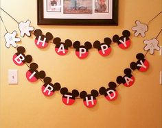 Happy Birthday Mickey Mouse Banner w/ Hands by IttyBittyBoutik