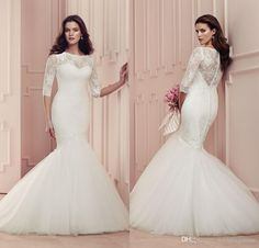 2016 Vintage Sheer Jewel Neck Mermaid Wedding Dresses With 3/4 Long Sleeves Lace Hollow Back Paloma Blanca Plus Size Bridal Gowns Dl1314480 Brides Dress Cheap Mermaid Wedding Dresses From Weddingmuse, $158.43  Dhgate.Com