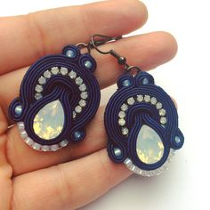 Navy blue souteche earrings with crystal earrings with by Lolissa