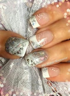 Encapsulated lace and glitter, holographic, wedding nails, gems, dots, filigree, nail design