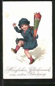 """carte postale ancienne: CPA """"Herzlichen Glückwunsch zum ersten Schulgang"""" Fille im blauen Mantel winkt avec Zuckertüte"""