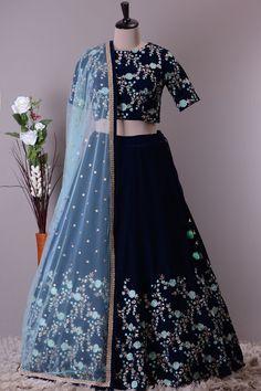 Oxford Blue Resham Embroidered Velvet Bridesmaids Lehenga-VJ1546