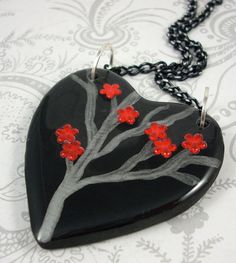 Red Flower Heart Pendant Necklace by pzcreations22 on Etsy, $19.50
