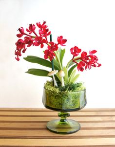 Exotic Miniature Red Orchid Flower Arrangement in Vintage Green Crystal