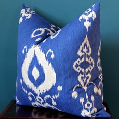 Blue Pillow Cover - Blue and White Pillow Cover - Blue Ikat Pillow - Tribal Pillow Cover - Trendy Pillows - Blue Nursery - Blue Throw Pillow - Ethnic Pillow Cover - 18x18 - 20x20 - 22x22 - 24x24 - 12x20 - 14x24 - Lumbar Pillow Cover - Accent Pillow - Blue Gifts  This cushion cover is made from a blue decor weight fabric featuring an ethnic ikat style design in white. Blue and white; a classic choice for a reason! Decor weight fabric. Pattern matched at all sides. -Pillow Cover Only…