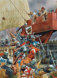 """Battle of Sluys - 24 June, 1340. Naval battle between an English fleet,under King Edward lll and a French  fleet under Hugues Quieret, Admiral of France"" - Medieval naval battle - ship to ship conflict was acted upon by boarding the enemy vessel and going into melee"