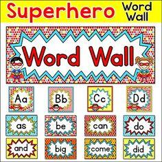 free word wall superheroes | Superhero Kids Theme Word Wall - 300 Sight Words - Editable Back to ...