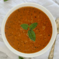 Vegan Tomato Soup Recipe | Dairy-Free + Delicious | Chasing Vibrance Homemade Tomato Basil Soup, Vegan Tomato Soup, Tomato Tortellini Soup, Canned Tomato Soup, Tomato Soup Recipes, Vegan Soup, Healthy Soup Recipes, Curried Butternut Squash Soup, Grass Fed Butter