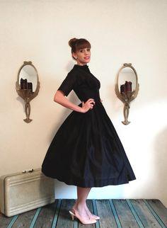Vintage 1950s Little Black Dress / Lanz Dress / by WhynaughtShop, $159.00