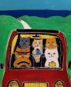 Cats in Art and Illustration: drive cat / Pepe Shimada I Love Cats, Crazy Cats, Cool Cats, Chat Web, Illustrations, Illustration Art, Son Chat, Photo Chat, Cat Posters
