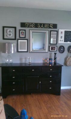 Grey walls, refurbished dresser