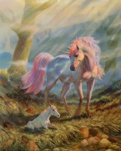 Fantasy Creatures Mother Unicorn And Baby Unicorn And Fairies, Unicorn Fantasy, Unicorns And Mermaids, Magical Unicorn, Beautiful Unicorn, Beautiful Gif, The Last Unicorn, Baby Unicorn, Unicorn Art