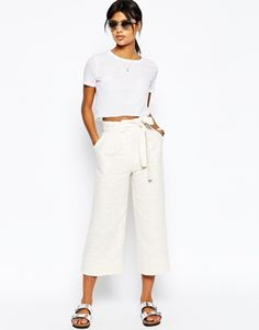 ASOS Natural Paper Bag Waist Culottes Co-ord
