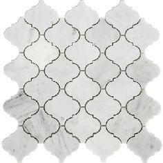 12 x 12 Arabesque Carrara Marble Mosaic Tile