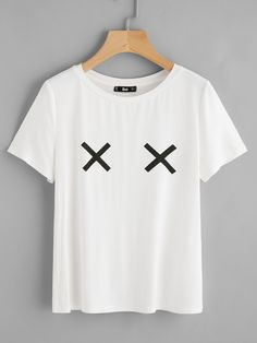 Shop Cross Print T-shirt online. SheIn offers Cross Print T-shirt & more to fit your fashionable needs. Shirt Print Design, Shirt Designs, Chemise Fashion, Fashion Fashion, Fashion Clothes, Trendy Fashion, Beau T-shirt, T Shirt Painting, T Shirt Sport