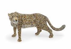 Masterpiece Leopard from the Limited Edition Collection of handmade bead and wire animals