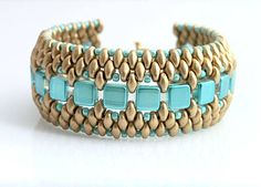 """Cuff- """"Kleopatra"""" Tilas, Seed Beads and Super Duos from kacenkag on sashe.sk"""