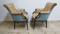 Pair Antique French Carved Tapestry Fireside Lounge regency Chairs