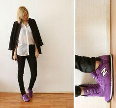 white blouse + black blazer + new balance sneakers