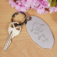 Personalized Engraved Stick Figure Silver Key Chain