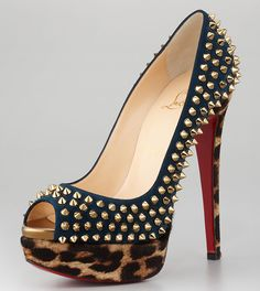 Christian Louboutin Lady Spiked Leopard Platform Pumps