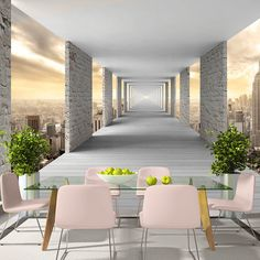 Skyward Corridor x Wallpaper East Urban Home Wallpaper Floor, Living Room Wall Wallpaper, 3d Wallpaper For Walls, Photo Wallpaper, Wallpaper Ideas, Stone Wallpaper, Floor Murals, 3d Wall Murals, Home Theaters