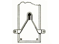 """""""A particularly useful device for people who are forced to stay out late at night"""" appeared in the September 1914 issue: the key guide. A V-shaped strip of metal affixed to the door tapers to a point just above the keyhole. The key's tip slides along the metal to find the keyhole opening. """"This simple device should prove very useful in places where it is impossible to illuminate the keyhole."""""""
