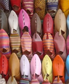 Babooches - Moroccan slippers worn by men & women. I have four pairs!
