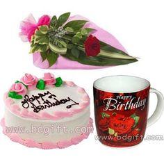 Send Half Kg Vanilla Round Cake With Red Roses Birthday Mug To Bangladesh