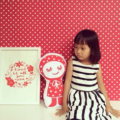 Polka dots & two little dolls ❤️ #anadelgarbrand #doll #kids #love #decoration #handmade #illustration #silkscreenprinting #cushion