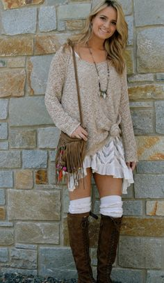 Free People- Lace Back Oversized Pullover,  Voile and Lace Trapeze Slip, Fiddler Tall Sock, Eclectic Mix Necklace and Ludlow Lace Boot