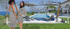 Black & white geometric print trend - looks AMAZING with gold jewelry - perfect for a chic Hamptons party or resort getaway vacation! Fab summer style!